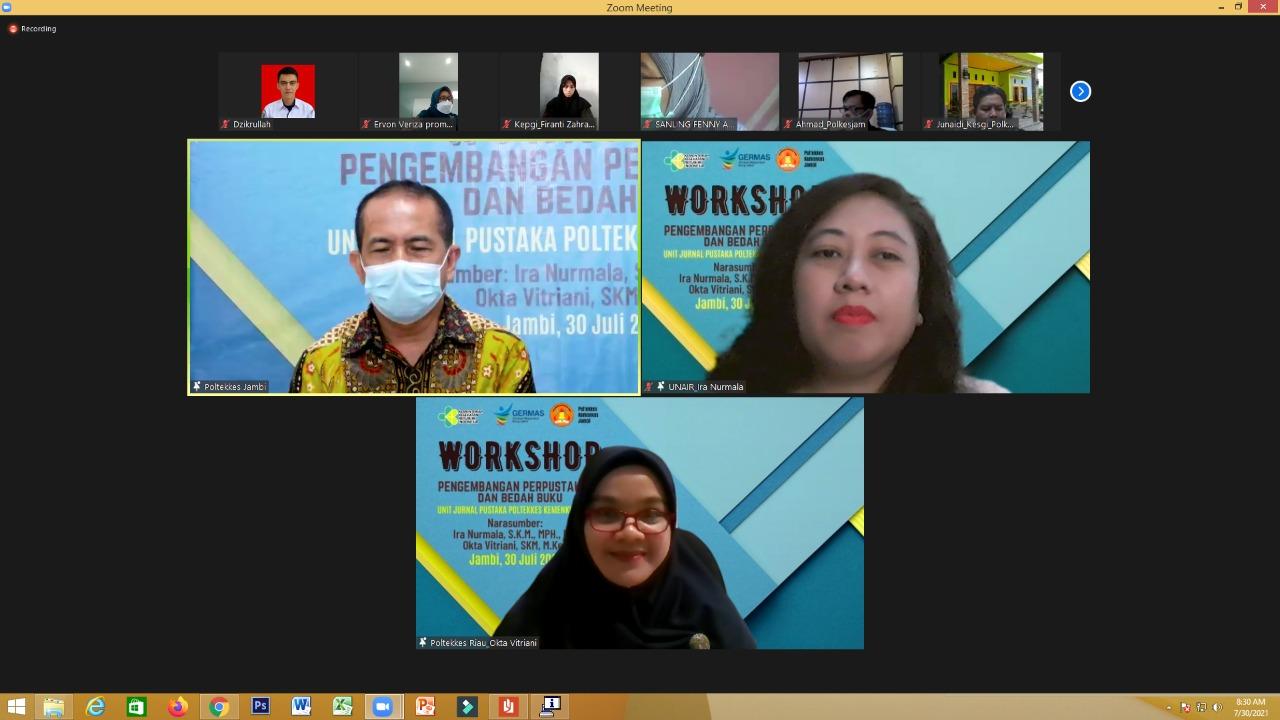 Ka. Unit Perpustakaan Terpadu Poltekkes Kemenkes Riau, menjadi Narasumber pada kegiatan Workshop Pengembangan Perpustakaan dan Bedah Buku Poltekkes Kemenkes Jambi